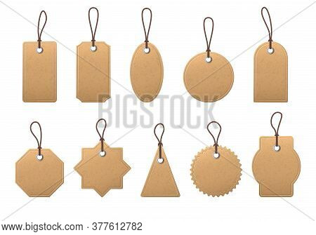 Craft Paper Price Label. Blank Shopping Labels With Rope, Vintage Paper Brown Tags For Marking Prici