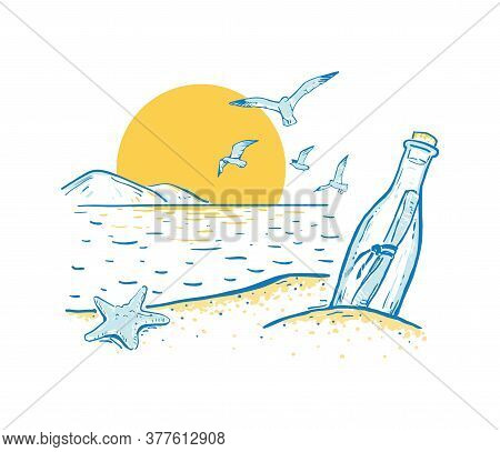 Sketch Beach With Sea Star, Seagull And Message In The Bottle. Sunrise Or Sunset. Summer Romantic Ba