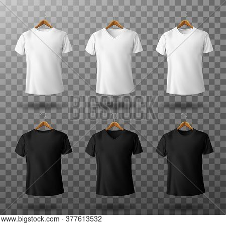 T-shirt Mockup Black And White Male T Shirt With Short Sleeves On Wooden Hangers Template Front View