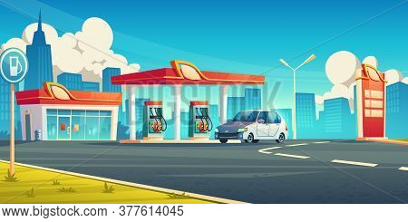 Gas Station, Cars Refueling City Service, Petrol Shop With Building, Price Display And Pump Hoses On