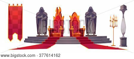 Medieval Castle Interior With Gold Royal Thrones. Vector Cartoon Set Of King And Queen Chairs, Stone