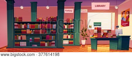 Bookstore Interior With Shelves, Desk And Cashier Counter. Vector Cartoon Illustration Of Empty Book