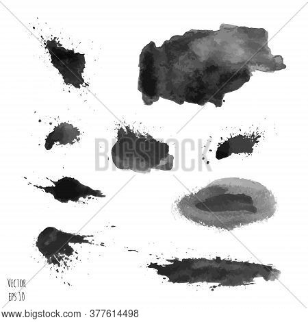 Set Of Dark Black Vector Watercolor Hand Painted Texture Backgrounds Isolated On White. Abstract Col