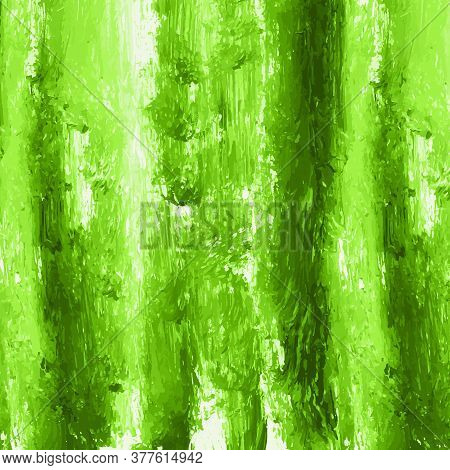 Green Vector Hand Paint Watercolor Texture Background. Strokes, Splashes, Spots And Stains Isolated
