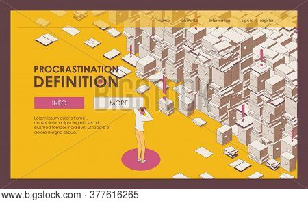 Landing Page Isometric Outline Mess Paper Work, Documents And Important Files Drawn, Man Holds His H