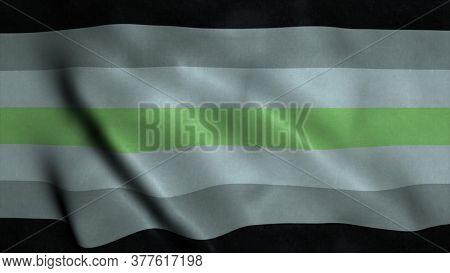 Agender Flag Waving In The Wind. Genderfree Rights Rainbow Pride Flag Lgbt. 3d Illustration