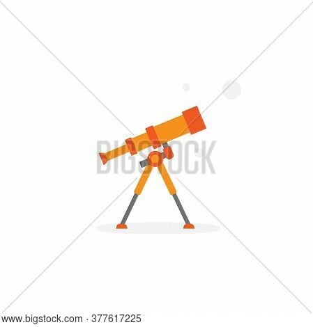 Orange Cartoon Telescope Searching For Stars Or Opportunities. Science, Cosmos Symbol.