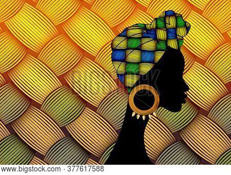 Portrait Beautiful African Woman. Shenbolen Ankara Head Wrapped Woman Wearing Traditional Tied Head
