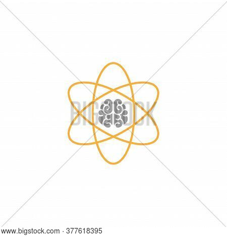 Brain Inside Atom Icon. Intellect, Phsychology, Knowledge Simple Pictogram Isolated On White.