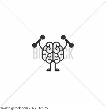 Black Brain With Dumbbells Icon. Intellect, Phsychology, Knowledge Simple Pictogram Isolated On Whit