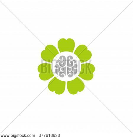 Gray Brain Inside Green Flower Icon. Intellect, Phsychology, Knowledge Simple Pictogram Isolated On