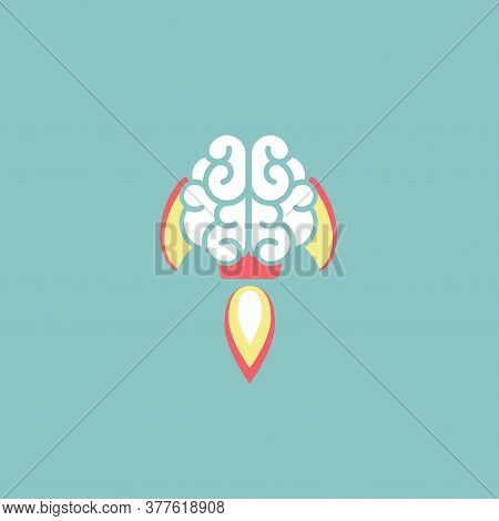 Brain As Rocket Ship Flat Icon Isolated On Blue. New Idea, Intellect, Imagination Sign.