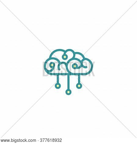 Brain With Chip Or Hub System Icon. Intellect, Phsychology, Knowledge Power Pictogram Isolated On Wh