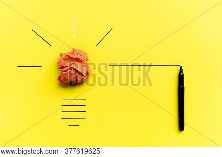 Light Bulb Over Yellow Background In Vision And Idea Conceptual Image. Symbol Of Business Strategy.