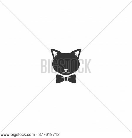 Black Cats Head With Bow Tie Icon Isolated On White. Tough, Cool Tom Cat With Severe Look.
