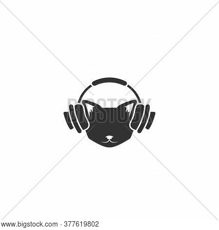 Black Cats Head With Headphones Icon Isolated On White. Tough, Cool Tom Cat.