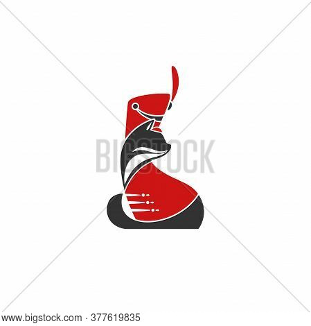 Black Hussar Cat With Red Shako Cap And Red Dolman. Original Logo Concept Isolated On White.