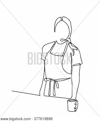 One Continuous Single Line Drawn By The Waiter With An Order Tray. Character Employee Of A Cafe, A R