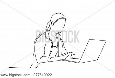 Continuous One Line Drawing Of A Woman. Business Concept. Beautiful Woman Sits On The Floor And Hold