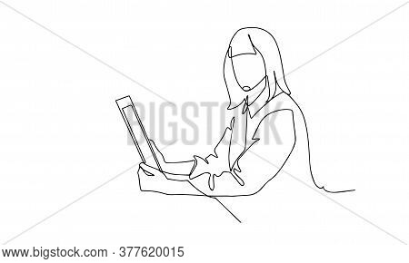 Continuous Line Drawing Of Professional Young Business Woman Using Mobile Digital Tablet Computer Wo