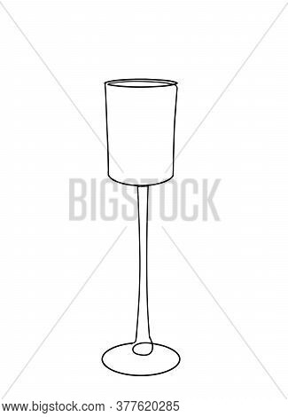 Continuous One Line Drawing. Coctail Glass. Vector Illustration. Wine Glass Outline. Continuous Blac
