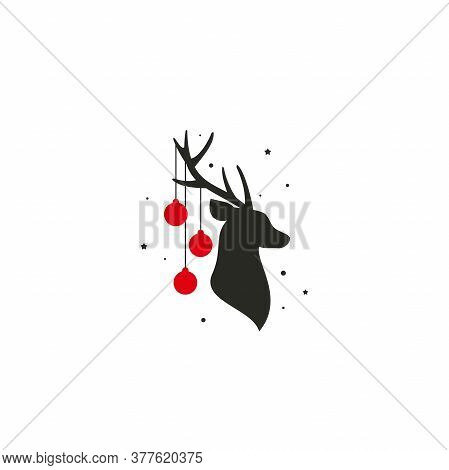 Black Silhouette Of Deer Head With Antlers, Red Christmas Tree Toy Balls On Horns, Snow And Stars.