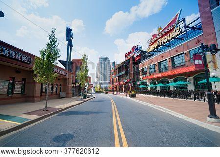 Saint Louis Usa - September 2 2015; Street Through Ballpark Village (bpv) Adjacent To Busch Stadium
