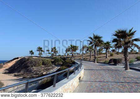 Pilar De La Horadada, Spain - September 21, 2018:promenade In Torre De La Horadada On The Coast Of T