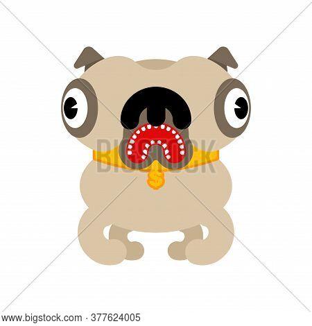Pug Cartoon Isolated. Dog Vector Illustration. Pet