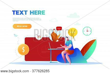 Video Call Business Communication Concept. Web Camera Video Call, Online Conference Concept Illustra