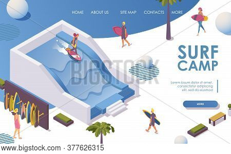 Isometric Landing Page For Surfing Pool In Hotel, Surf Camp..