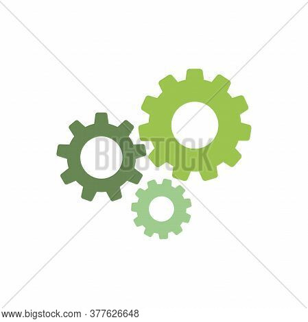 Gears Icon Isolated On White. Combination Of Pinions Of Green And Olive Colors.