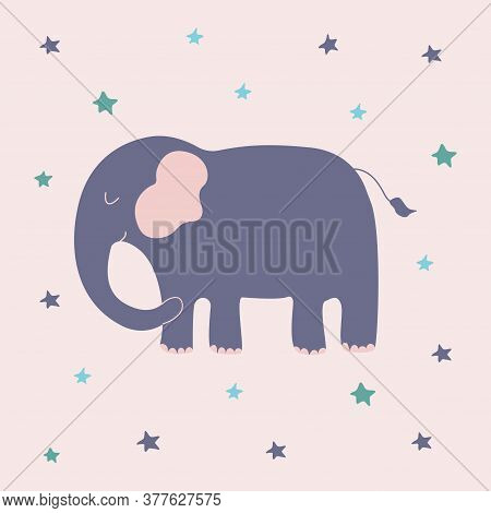 Cute Happy Blue Elephant With Stars. Colorful Vector Isolated Illustration In Cartoon Style. African