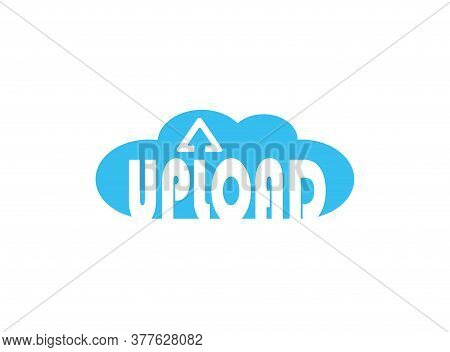 Upload Cloud With Arrow Logo For Data Storage Statistics, Uploading And Downloading Of Data Transfer