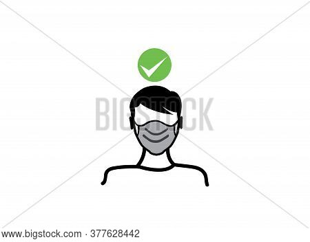 Man Covers Himself With A Mask In A Flat Design. Recommendation During A Coronavirus Pandemic. Cover
