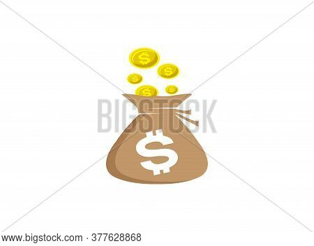 Bag Of Money Growth Chart And Investment Currency Collection. Increase Sales Icon Trendy And Modern