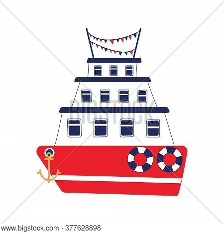 Three-tiered Cruise Liner With Two Lifebuoys And Colorful Flags. Red And Blue Ship With Yellow Ancho