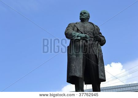 View of Lenin statue in Vyborg Russia poster