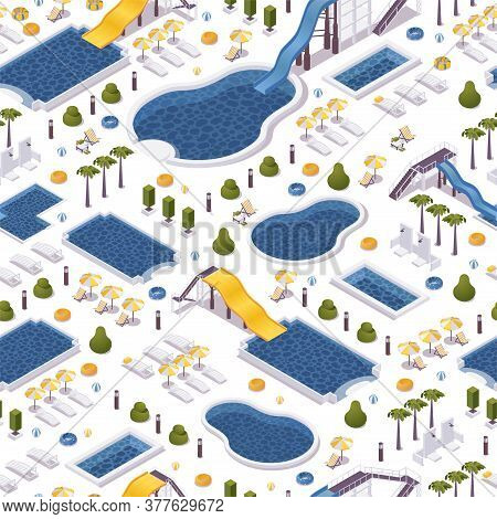 Seamless Isometric Pattern With Water Pools. Aqua Park Slides And Loungers On White Background. Vect