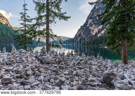 Cairns Of Stones At The Foot Of The Seekofel In Front Of The Lake Braies In The Pusteria Valley, Sou
