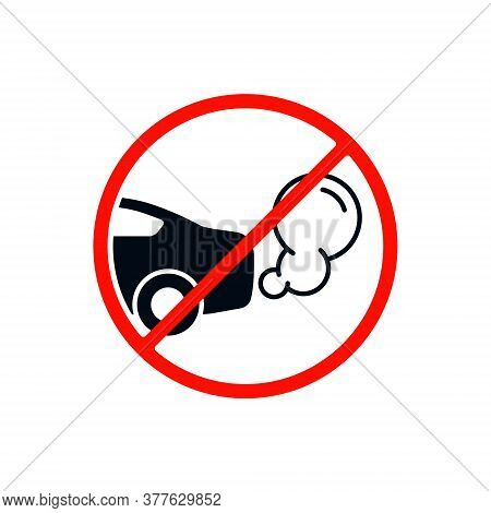 No Idling Or Idle Reduction Transport Sign On White Background. Vector Isolated Flat Design Illustra
