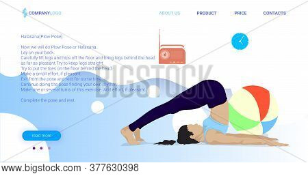Yoga Poses For Beginners Landing Page Vector Template. Active And Healthy Lifestyle. Bodypositive We