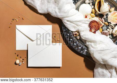 White Envelope Stationery, Card Mockup Template. Vintage Steel Metal Tray, Gauze, Sea Shells Flat La