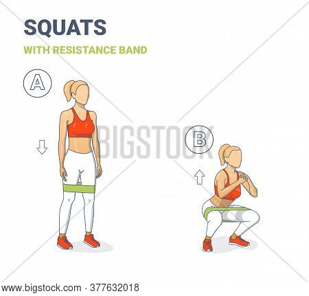 Girl Doing Squats With Resistance Band Silhouettes. Squatting Athletic Young Woman Does Elastic Band