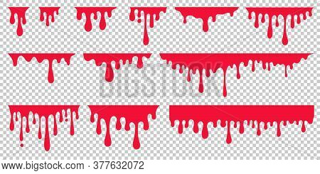 Red Dripping Paint, Looking Like Drip Of Blood Or Ketchup. Set Of Abstract Liquid Stain Elements For