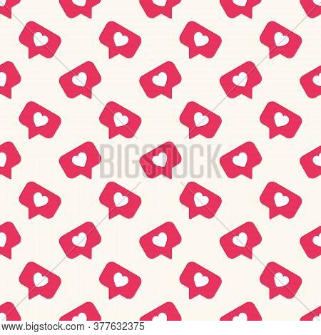 Vector Seamless Geometric Pattern With Bright Red Social Media Like Sign. Social Network Appreciate