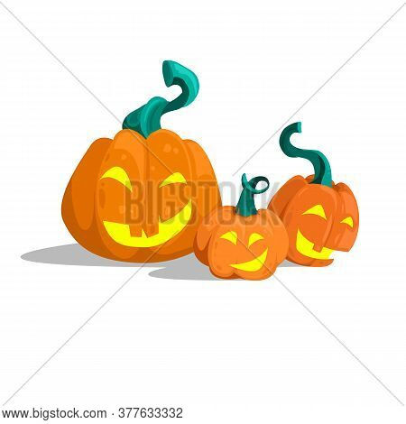 Cartoon Pumpkins Having A Good Time. Vector File With Pumpkins. Three Pumpkins