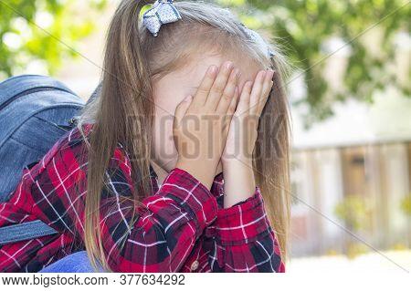 Schoolgirl Is Crying,  Bullying At School, A Quarrel Between Classmates.