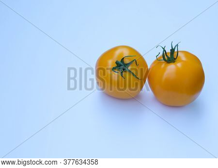 Natural Healthy Organic Tomatoes With Green Stalks