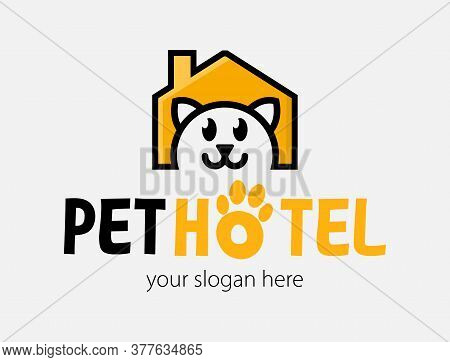Animal Hotel Funny Logo Design Template. Hotel And Indoor Pets Run. The Animal Lodge Sign.